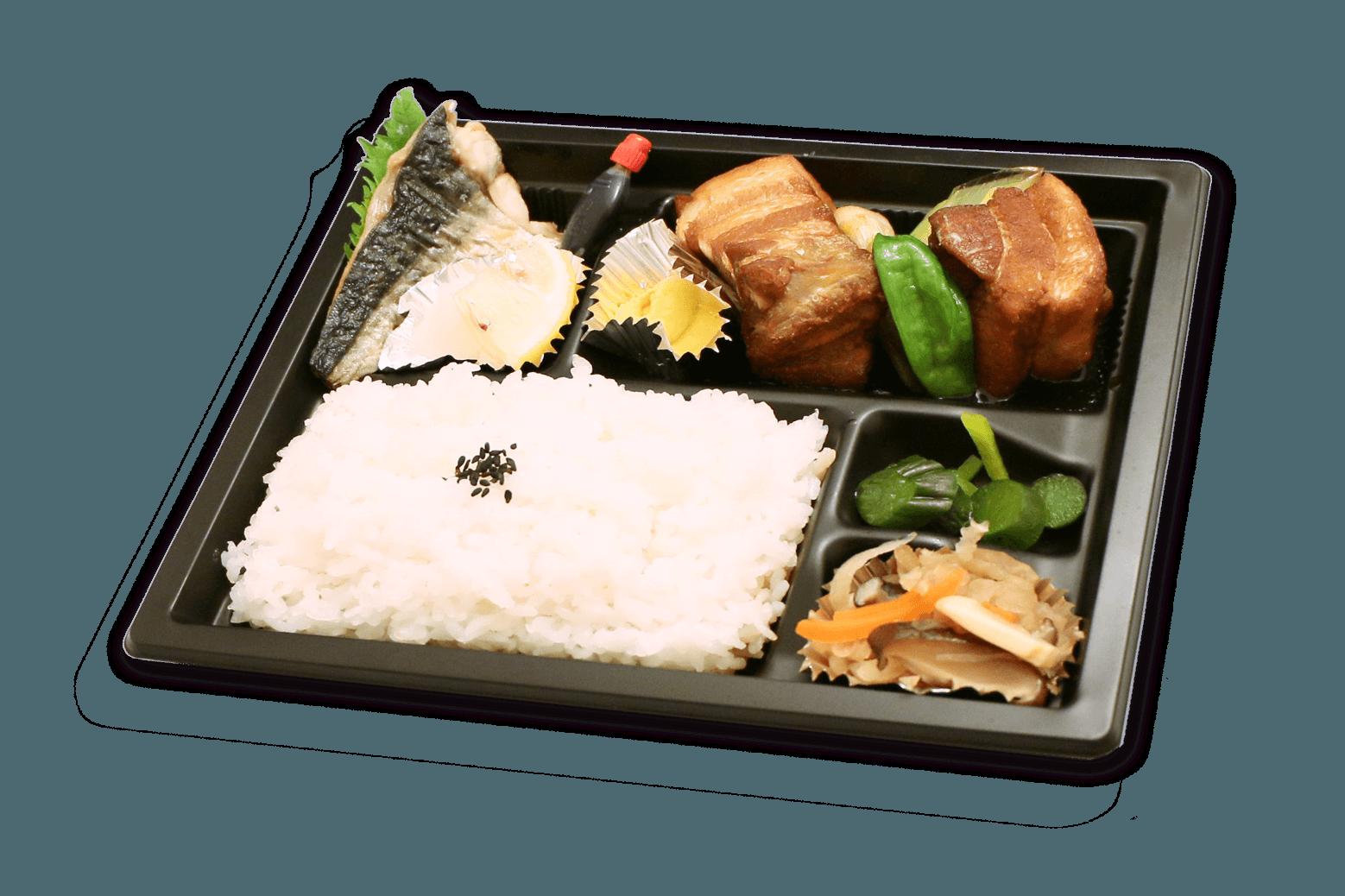豚の角煮弁当(焼き魚付き)