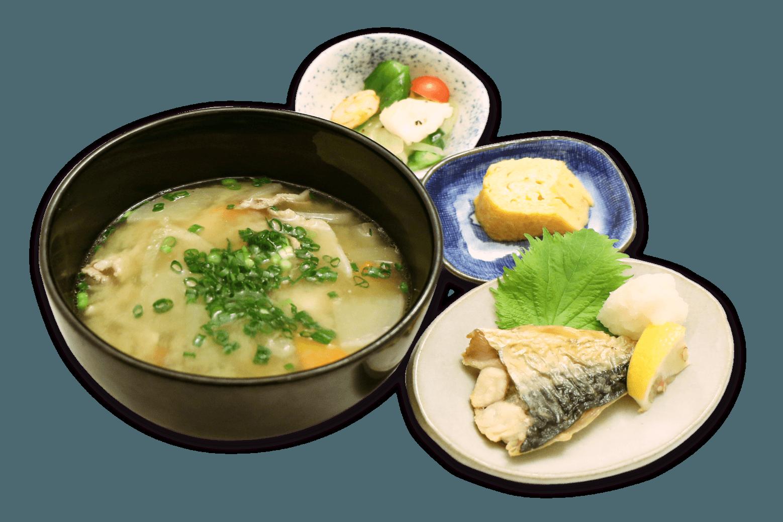 豚汁定食(焼き魚付き)